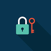 Lock and key icon flat design isolated vector illustration