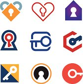 Lock and key of success in life adventure logo icon