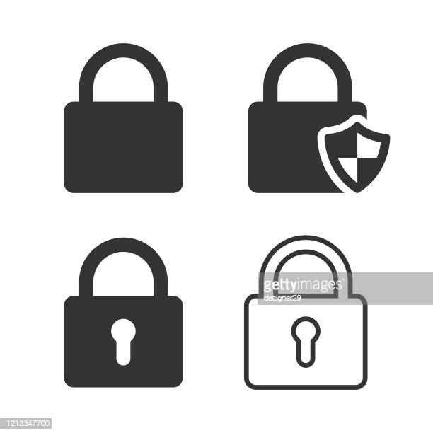 lock and shield icon vector design on white background. - unlocking stock illustrations