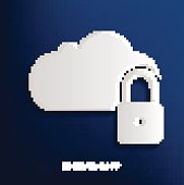 Lock data clod design on blue background,clean vector