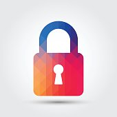 Lock icon, Colorful geometric style
