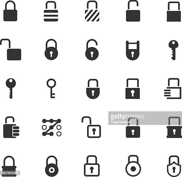 lock icon set - key stock illustrations, clip art, cartoons, & icons