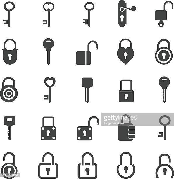 ilustrações, clipart, desenhos animados e ícones de trava conjunto de ícones - chave