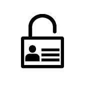 Lock icon, User icon on key - vector iconic design