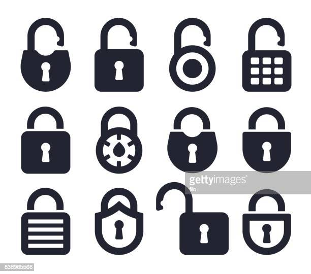 lock icons and symbols - open stock illustrations