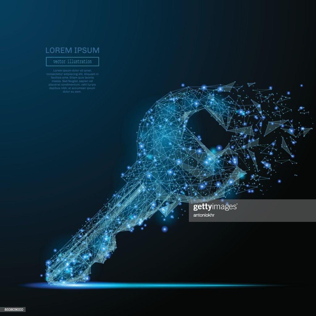 Lock key low poly blue