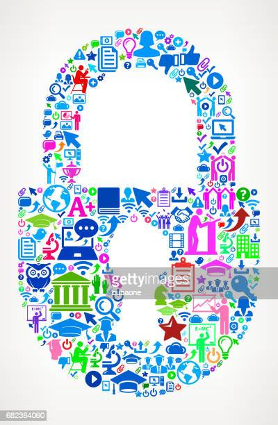 Lock  Modern Education and College Degree Icon Pattern