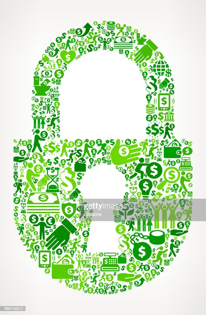 Lock  Money and Finance Green Vector Icon Background
