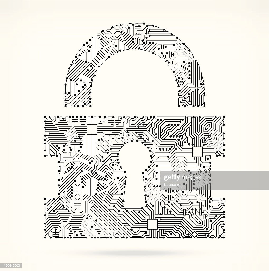 Lock On Circuit Board Vector Art   Getty Images