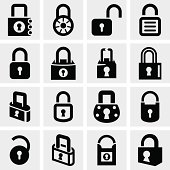 Lock vector icons set on gray