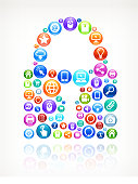 Lock with Social Networking and Internet royalty free vector arts