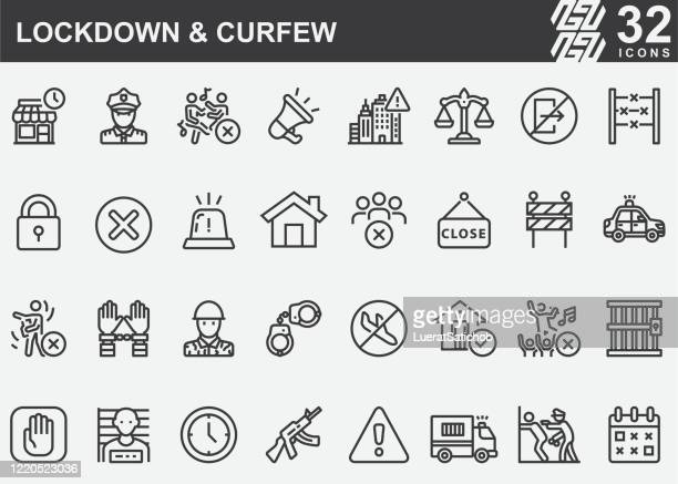 lockdown and curfew line icons - sold out stock illustrations