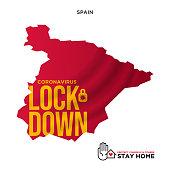 lockdown concept spain map wuhan coronavirus