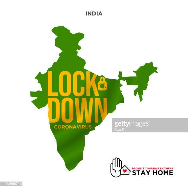 lockdown concept india map wuhan coronavirus