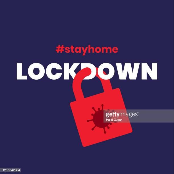 lockdown social distancing covid-19 corona virus flat minimalist vector illustration - lockdown stock illustrations