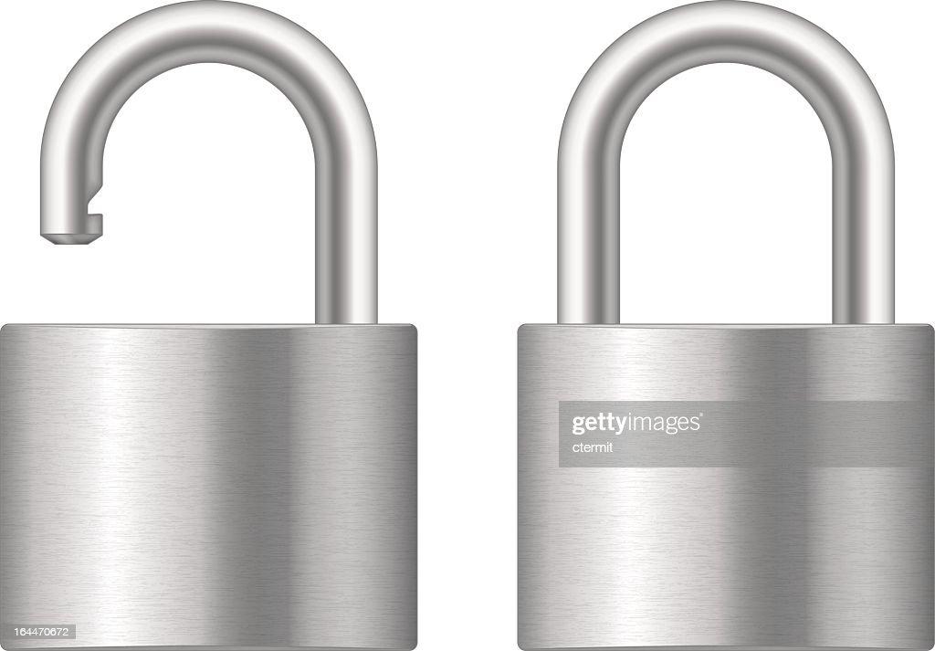 Locked and unlocked padlock silver