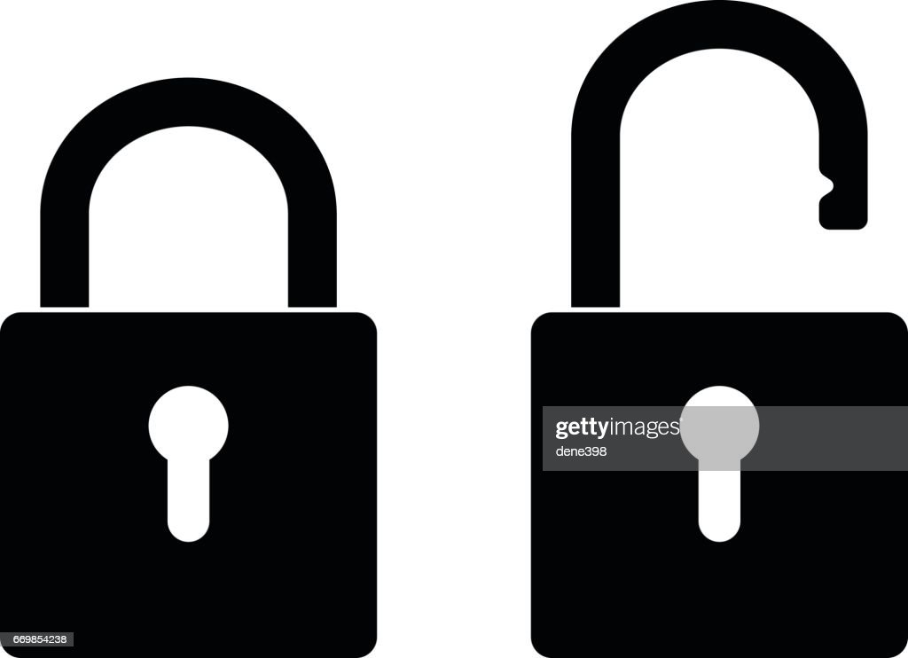 Locked and unlocked padlock