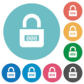 Locked combination lock with center numbers flat round icons