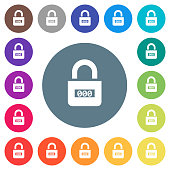 Locked combination lock with center numbers flat white icons on round color backgrounds