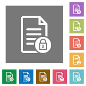 Locked document square flat icons