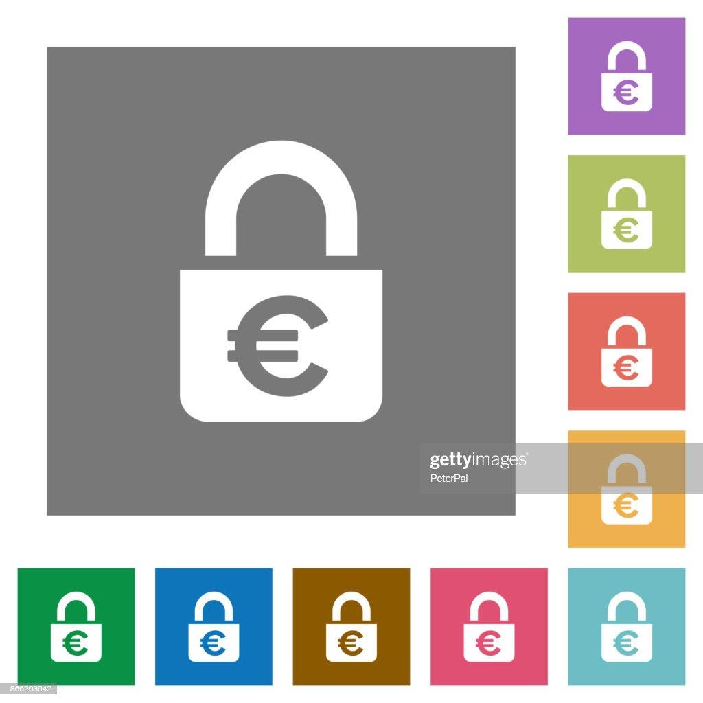 Locked euros square flat icons