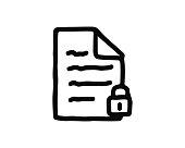 locked file icon hand drawn design illustration