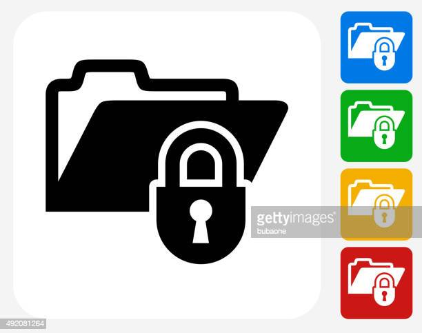locked files icon flat graphic design - cabinet stock illustrations, clip art, cartoons, & icons
