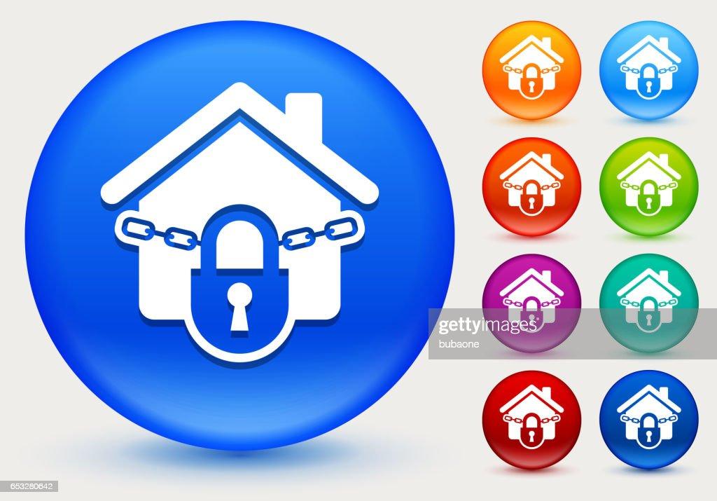 Haus-Symbol auf glänzenden Farbkreis Tasten gesperrt : Vektorgrafik