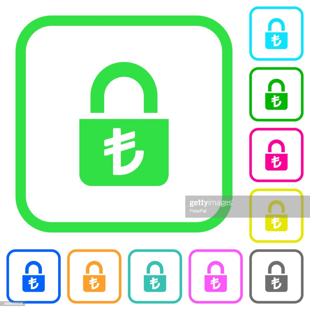 Locked lira vivid colored flat icons icons
