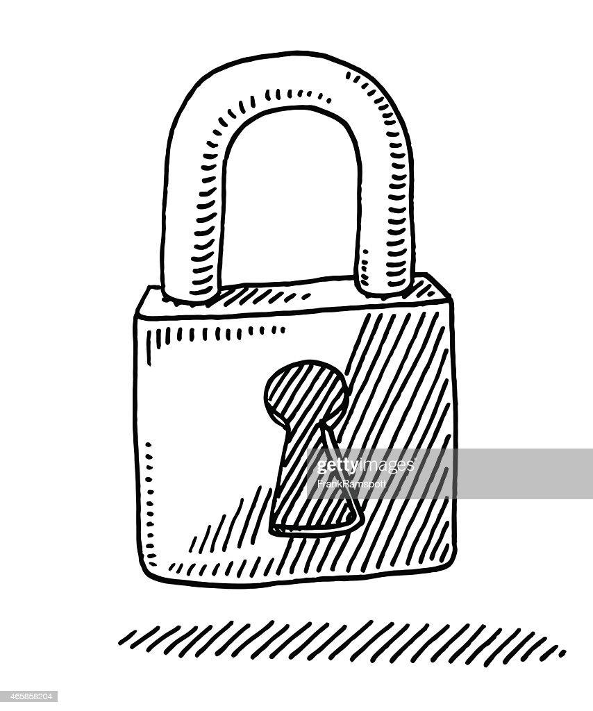Locked Padlock Drawing : Stockillustraties