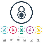 Locked round combination lock flat color icons in round outlines