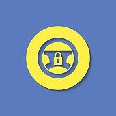 Locked steering wheel vector hmi dashboard flat icon