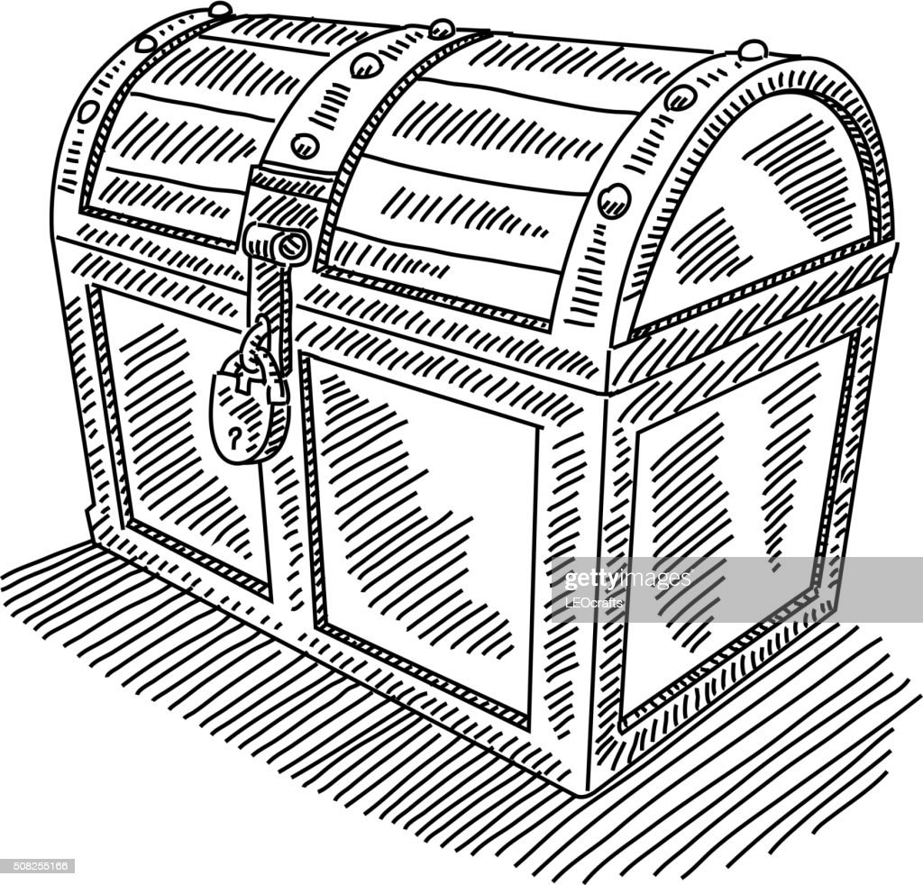 locked treasure chest drawing vector art getty images