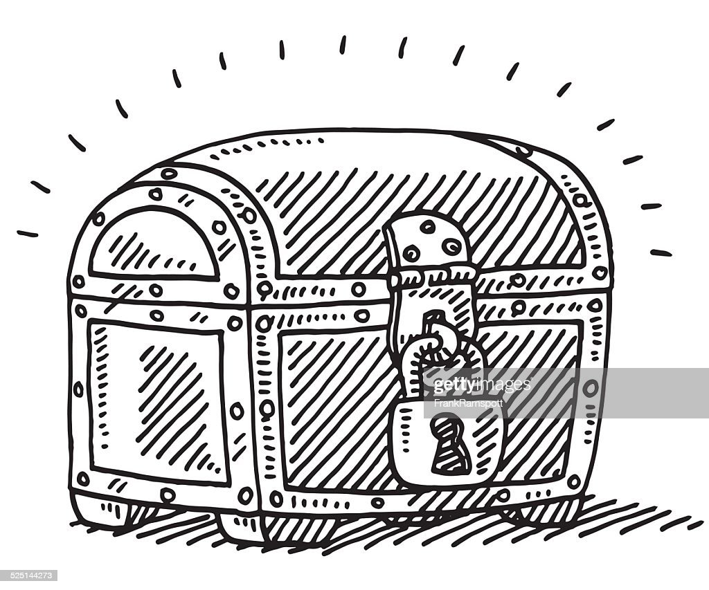 locked treasure chest uncertainty drawing vector art getty images