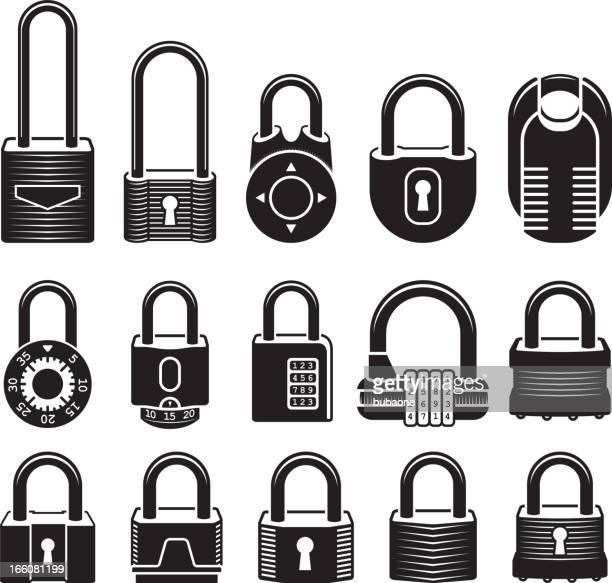 Locks black & white royalty free vector icon set