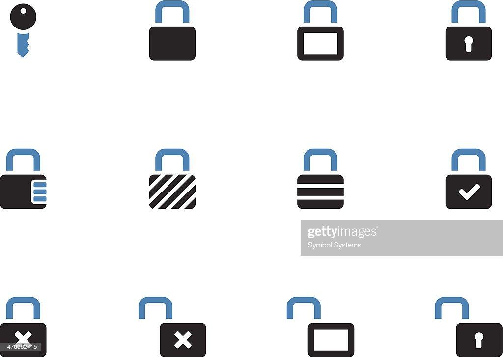 Locks duotone icons on white background.