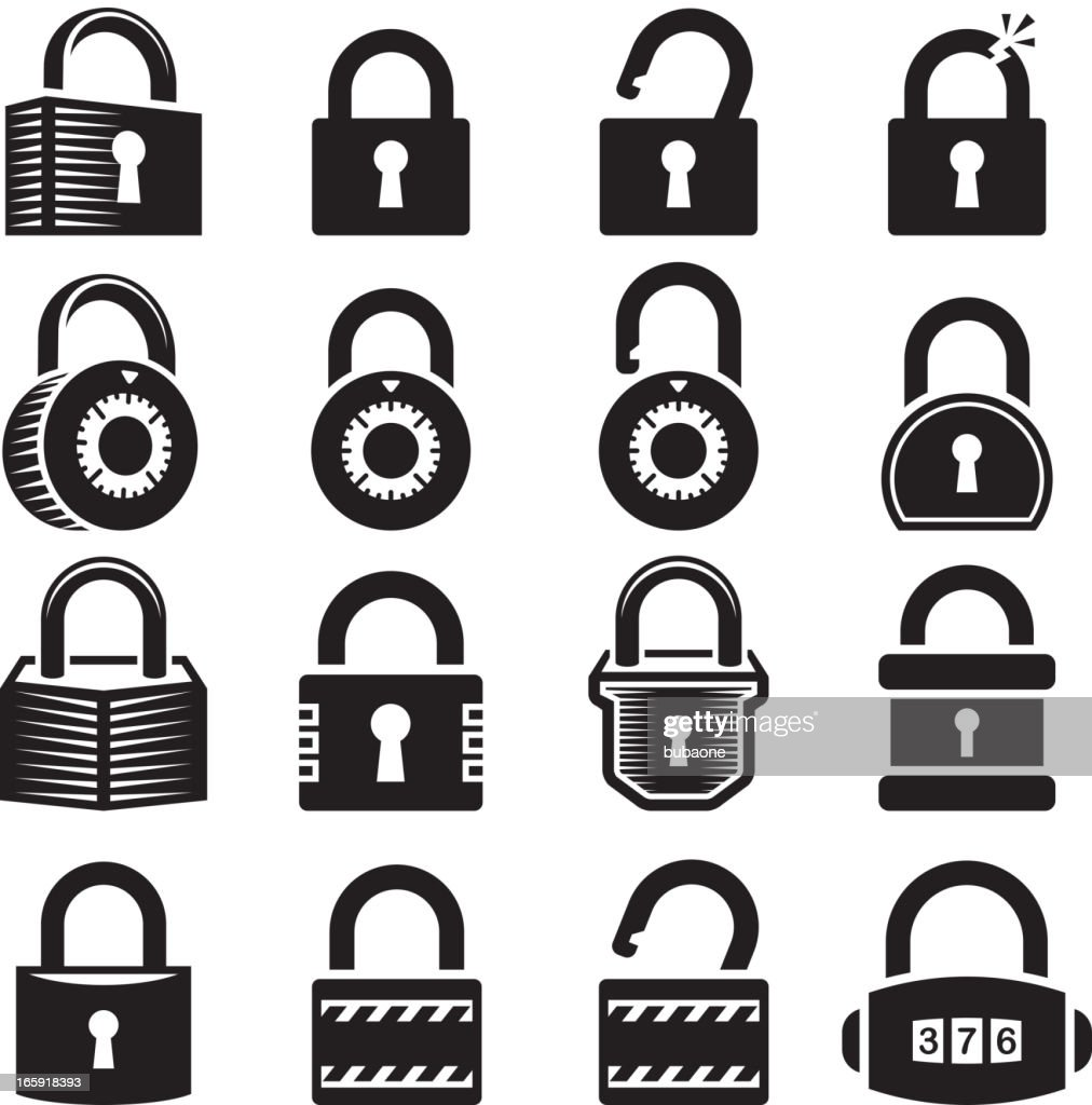 Locks open and closed lock royalty free vector icon set