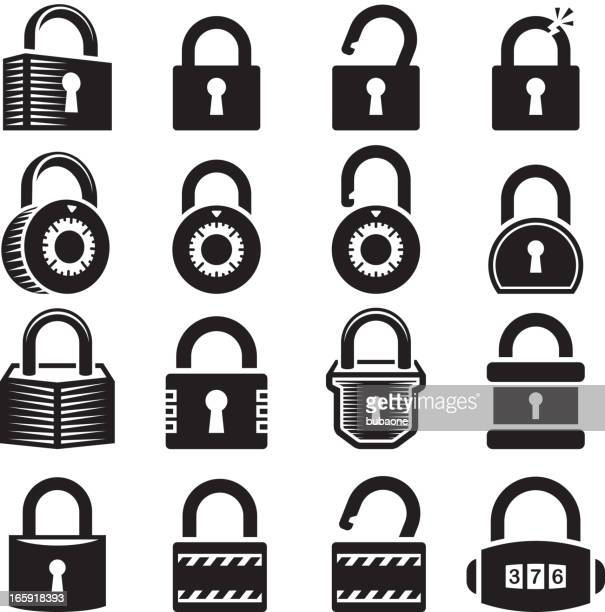locks open and closed lock royalty free vector icon set - keyhole stock illustrations, clip art, cartoons, & icons