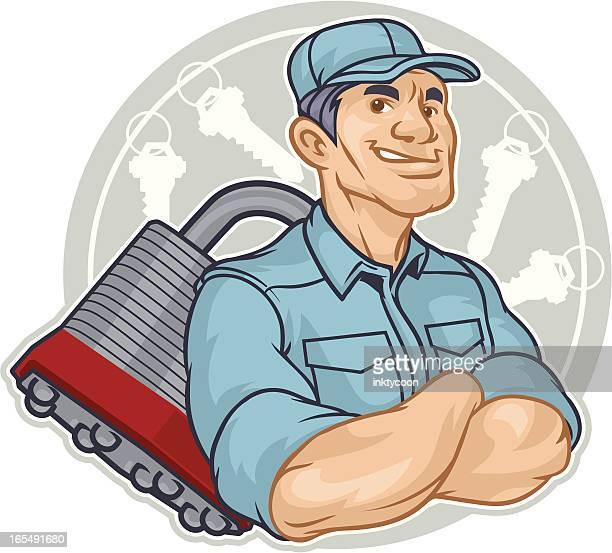 stockillustraties, clipart, cartoons en iconen met locksmith man - locksmith