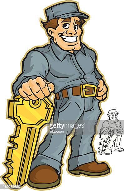 stockillustraties, clipart, cartoons en iconen met locksmith - locksmith