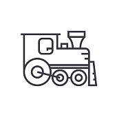 locomotive vector line icon, sign, illustration on background, editable strokes