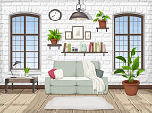 Loft living room interior. Vector illustration.
