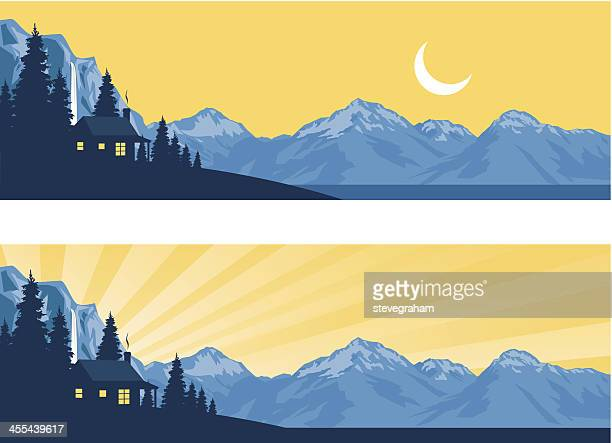 log cabin silhouette in the mountains - remote location stock illustrations