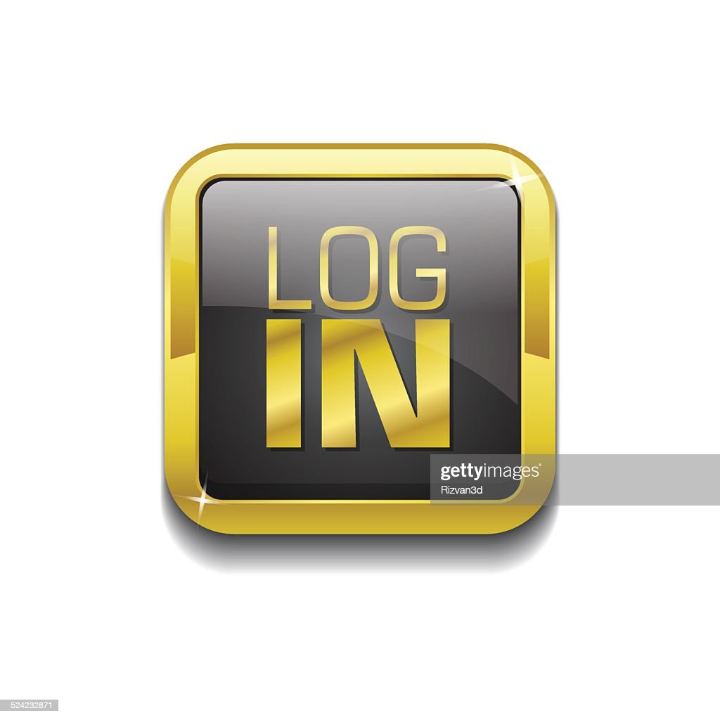 log In Gold Vector Icon Button