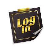 log In  Golden Sticky Notes Vector Icon Design