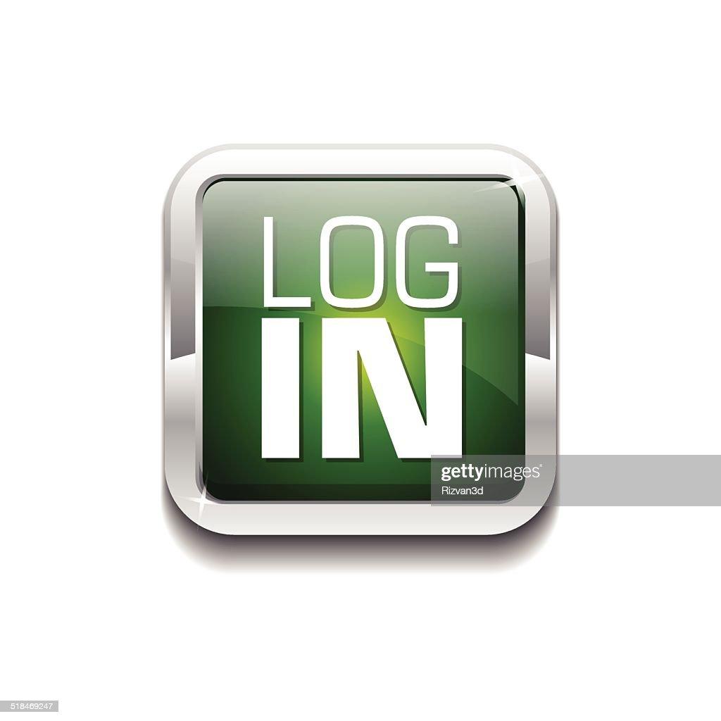 log In Green Vector Icon Button