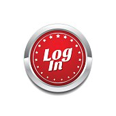 log In Red Vector Icon Button