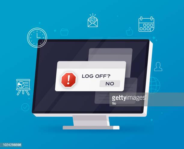 log off computer multitasking - information overload stock illustrations