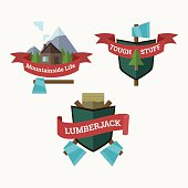 Logging crests collection in flat cartoon style