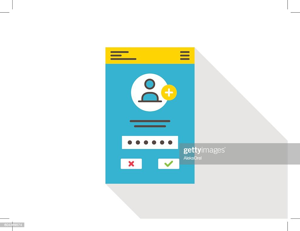 Login access mobile webpage vector illustration
